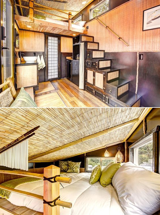 interieur en bamboo tiny house