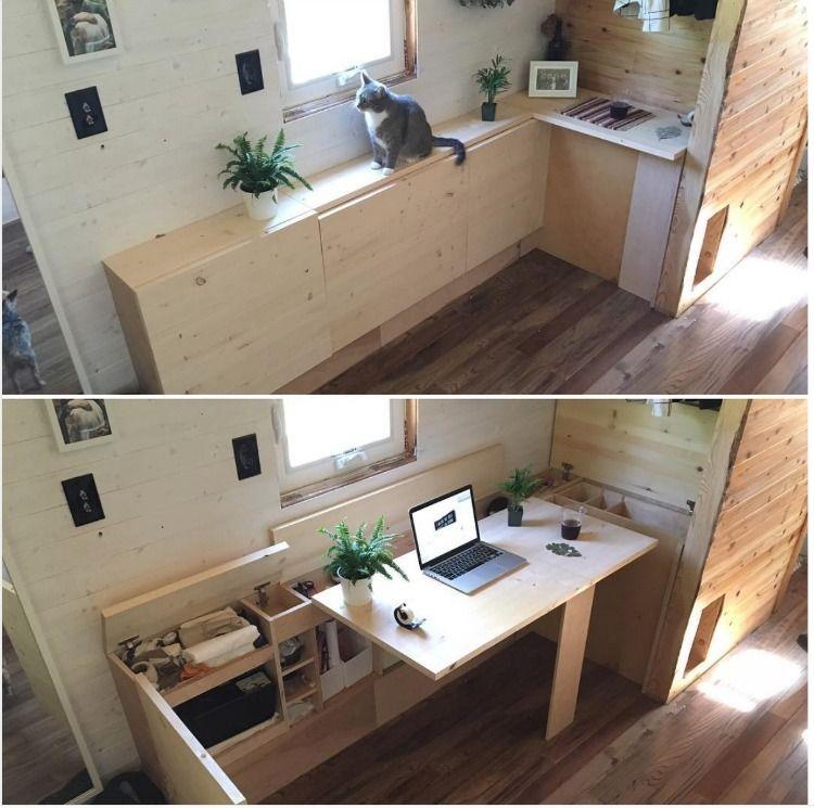 Table bureau pliable avec rangements