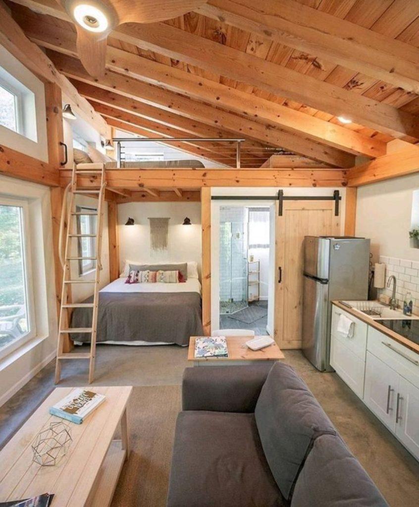 Honeycrisp Cottage salon cuisine chambre salle de bain mezzanine