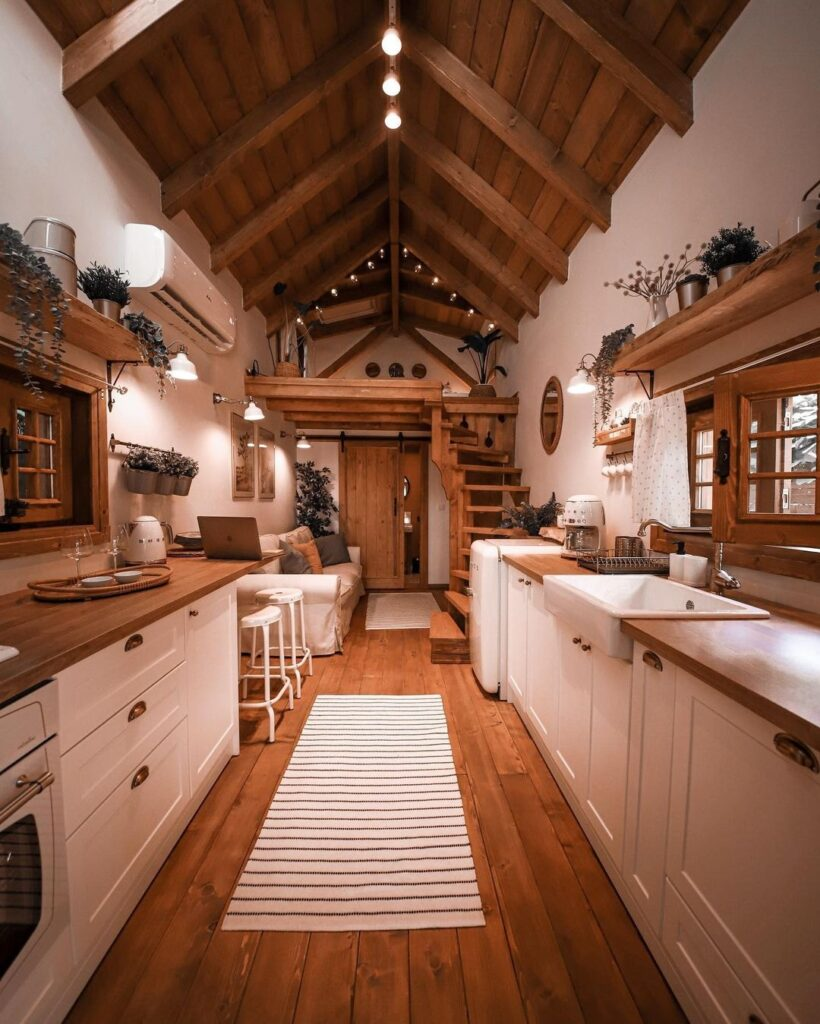 interieur cusine et salon tiny box house